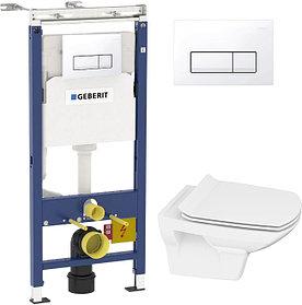 Комплект Инсталляция Geberit Duofix Платтенбау 4 в 1 с белой кнопкой смыва + Унитаз Cersanit Carina new clean
