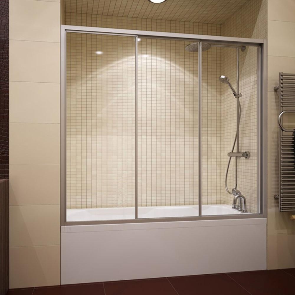 Шторка на ванну GuteWetter Practic Part GV-403A левая 176-180 см стекло бесцветное, профиль матовый хром