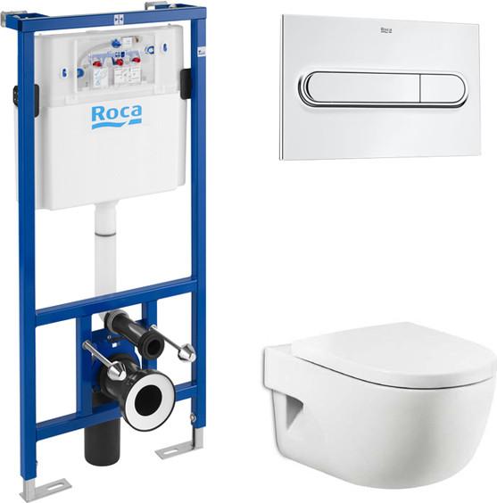 Комплект Система инсталляции для унитазов Roca DUPLO WC 890090020 + Кнопка смыва Roca PL1 Dual хром +