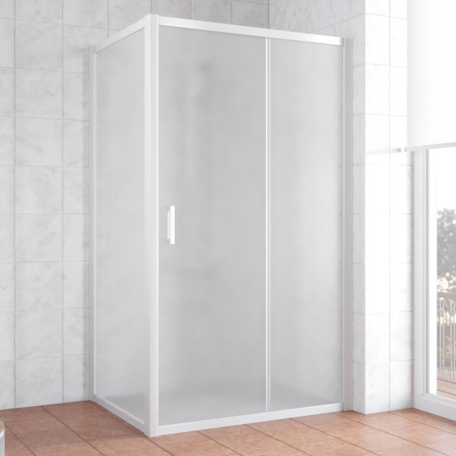 Душевой уголок Vegas Glass ZP+ZPV 100*80 01 10 профиль белый, стекло сатин