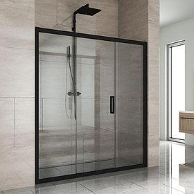Душевая дверь в нишу Kubele DE019D3-CLN-BLMT 160 см, профиль матовый черный