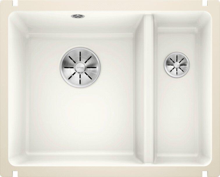 Мойка кухонная Blanco Subline 350/150-U глянцевая белая, с отводной арматурой InFino