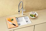 Мойка кухонная Blanco Subline 350/150-U глянцевая белая, с отводной арматурой InFino, фото 3