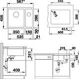 Мойка кухонная Blanco Subline 350/150-U глянцевая белая, с отводной арматурой InFino, фото 7