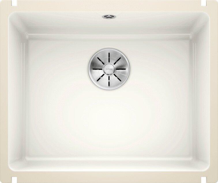 Мойка кухонная Blanco Subline 500-U глянцевая белая, с отводной арматурой InFino