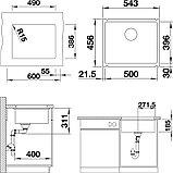 Мойка кухонная Blanco Subline 500-U глянцевая белая, с отводной арматурой InFino, фото 2