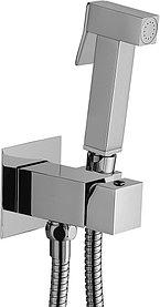 Гигиенический душ Paffoni Tweet Square ZDUP112CR со смесителем, С ВНУТРЕННЕЙ ЧАСТЬЮ