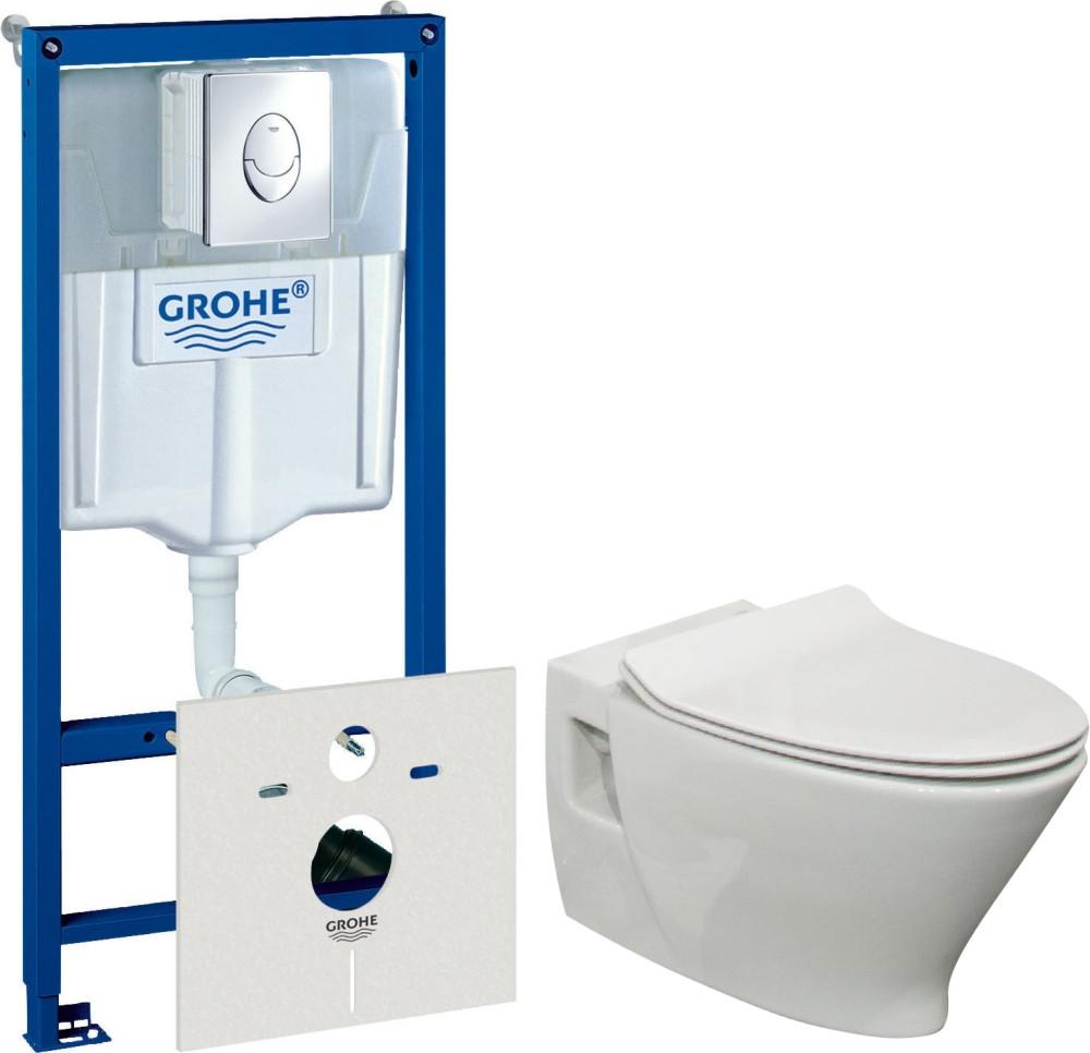 Комплект Система инсталляции для унитазов Grohe Rapid SL 38750001 4 в 1 с кнопкой смыва + Чаша для унитаза