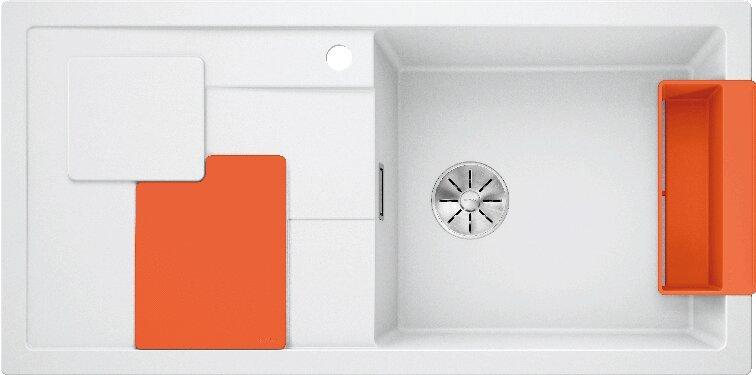 Мойка кухонная Blanco Sity XL 6 S белая, аксессуары апельсин