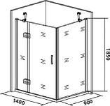 Душевой уголок Good Door Saturn WTW+SP левый 140х90х185 см, фото 4