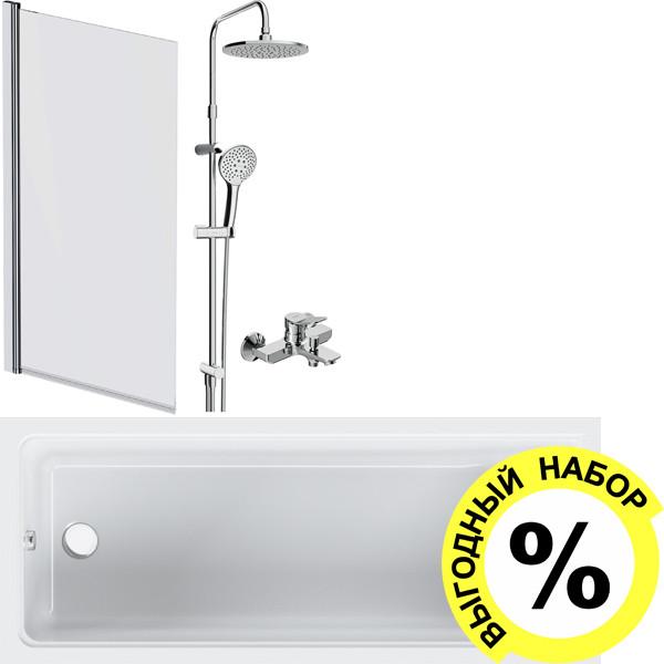Акриловая ванна AM.PM Gem W90A-170-070W-A с каркасом и душевым комплектом + шторка W90BS-D080-140 + сертификат