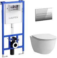 Комплект Laufen 8.6996.6.000.000.R унитаз безободковый, с микролифтом + система инсталляции с кнопкой смыва
