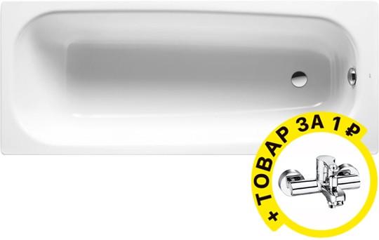 Чугунная ванна Roca Continental 21290200R 160x70 см, без антискользящего покрытия + смеситель для ванны с