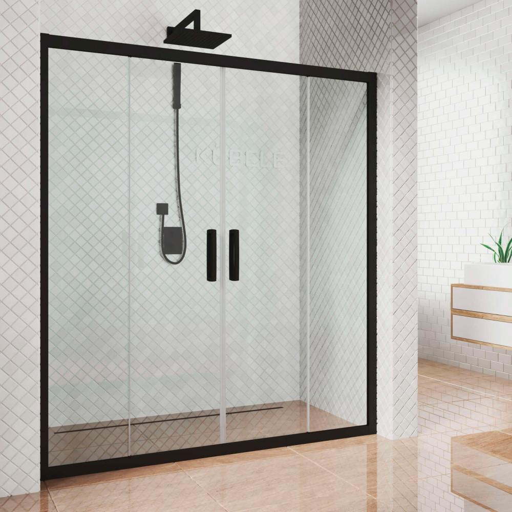 Душевая дверь в нишу Kubele DE019D4-CLN-BLMT 155 см, профиль матовый черный