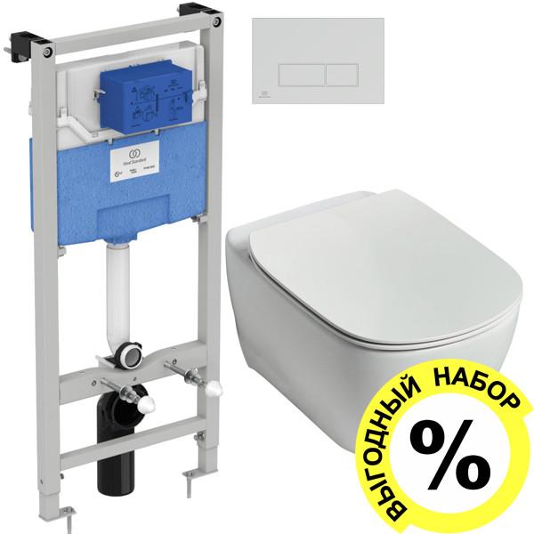 Унитаз подвесной Ideal Standard Tesi T355101 безободковый + система инсталляции и кнопка смыва