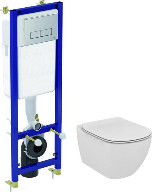 Комплект Система инсталляции для унитазов Ideal Standard W3710AA 4 в 1 + Крышка-сиденье Ideal Standard Tesi