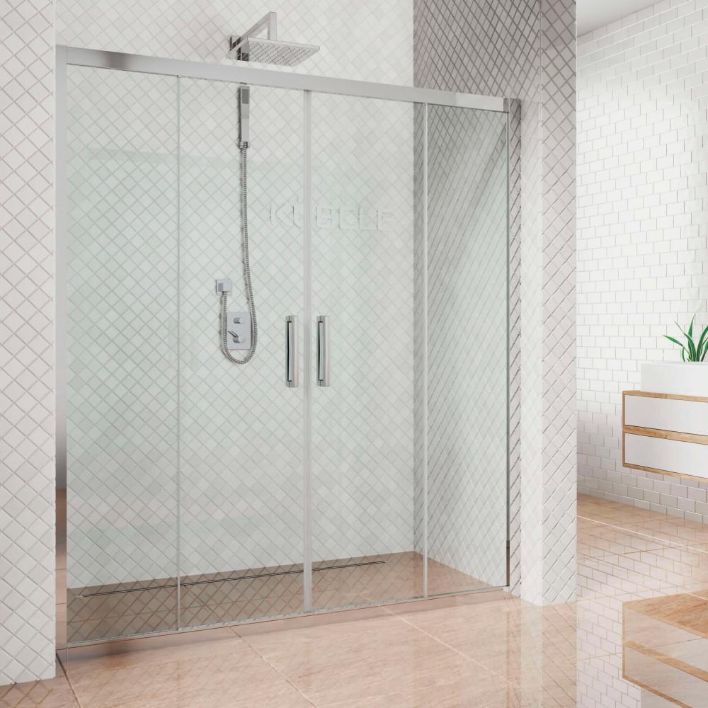 Душевая дверь в нишу Kubele DE019D4-CLN-CH 155 см, профиль хром