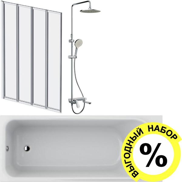 Акриловая ванна AM.PM Like W80A-170-070W-A с каркасом и душевым комплектом + шторка на ванну + сертификат IVI