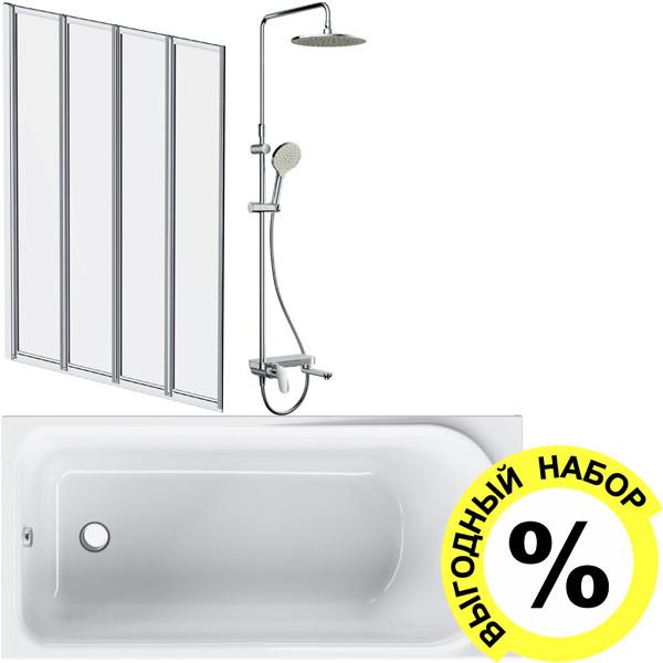 Акриловая ванна AM.PM Like W80A-150-070W-A с каркасом и душевым комплектом + шторка на ванну + сертификат IVI