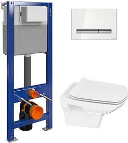 Комплект Унитаз Cersanit Carina new clean on slim lift + Инсталляция Cersanit Aqua P-IN-MZ-AQ40-QF с белой