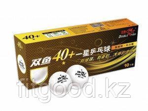 DOUBLE FISH 40+ 1*, 10 мячей в упаковке, белые. Для начинающих игроков.