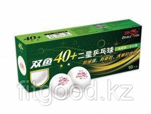 DOUBLE FISH 40+ 2*, 10 мячей в упаковке, белые. Для продвинутых игроков
