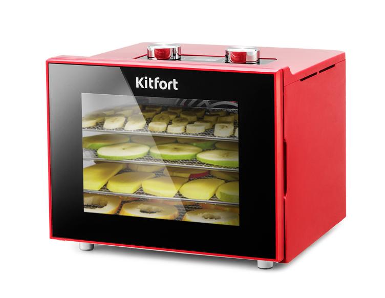 Сушилка для овощей и фруктов Kitfort KT-1915-2, красная