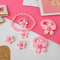 """Комплект детский """"Выбражулька"""" 5 предметов: 2 резинки, клипсы, браслет, кольцо, цветочки, цвет МИКС"""