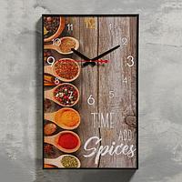 """Часы настенные, серия: Кухня, """"Пряности"""", 1 АА, плавный ход, 57х35х4 см"""