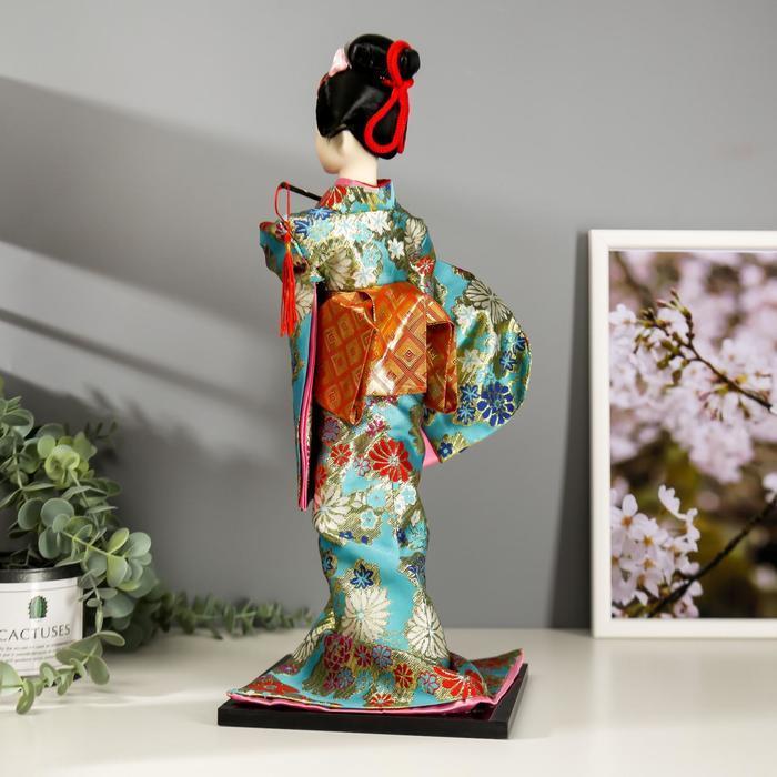 """Кукла коллекционная """"Гейша в бирюзовом кимоно с цветами"""" 42х16,5х16,5 см - фото 4"""