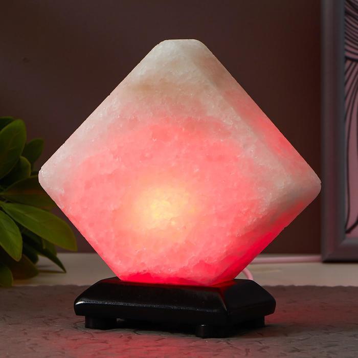 """Соляной светильник """"Кубик"""" LED (диод цветной) USB белая соль 10х9х7 см - фото 3"""