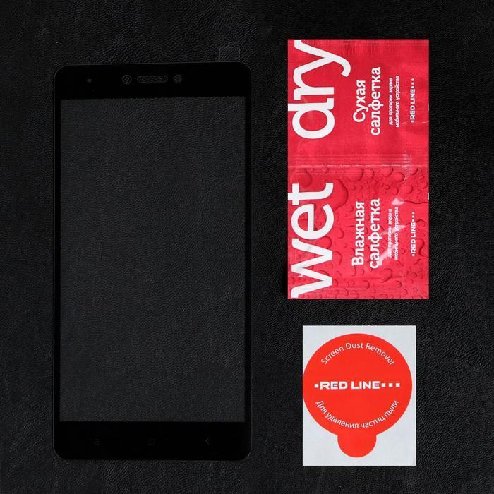 Защитное стекло Red Line для Xiaomi Redmi Note 4/Note 4X, Full Screen, полный клей, черное - фото 2