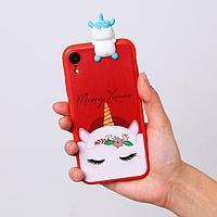 Чехол для телефона iPhone XR «Новогодний единорог», с персонажем, 7,6 х 15,1 см