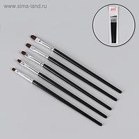 Кисти для наращивания и дизайна ногтей плоские, 5 шт, 18 см, цвет чёрный