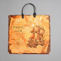 Пакет 'Пиратский клуб', полиэтиленовый с пластиковой ручкой, 37 х 34 см, 80 мкм (комплект из 10 шт.)