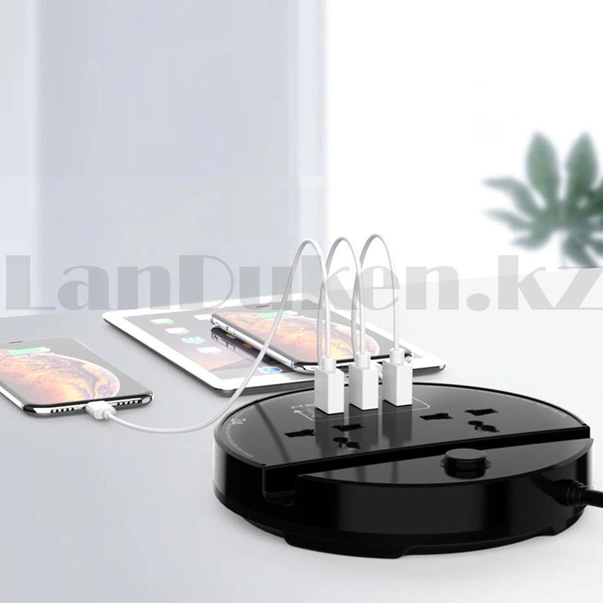 Удлинитель сетевой фильтр 2 розетки 3 USB, быстрая зарядка 3.0 с подставкой для телефона moxom MX-ST03 черный - фото 2