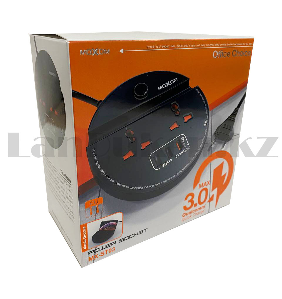 Удлинитель сетевой фильтр 2 розетки 3 USB, быстрая зарядка 3.0 с подставкой для телефона moxom MX-ST03 черный - фото 10