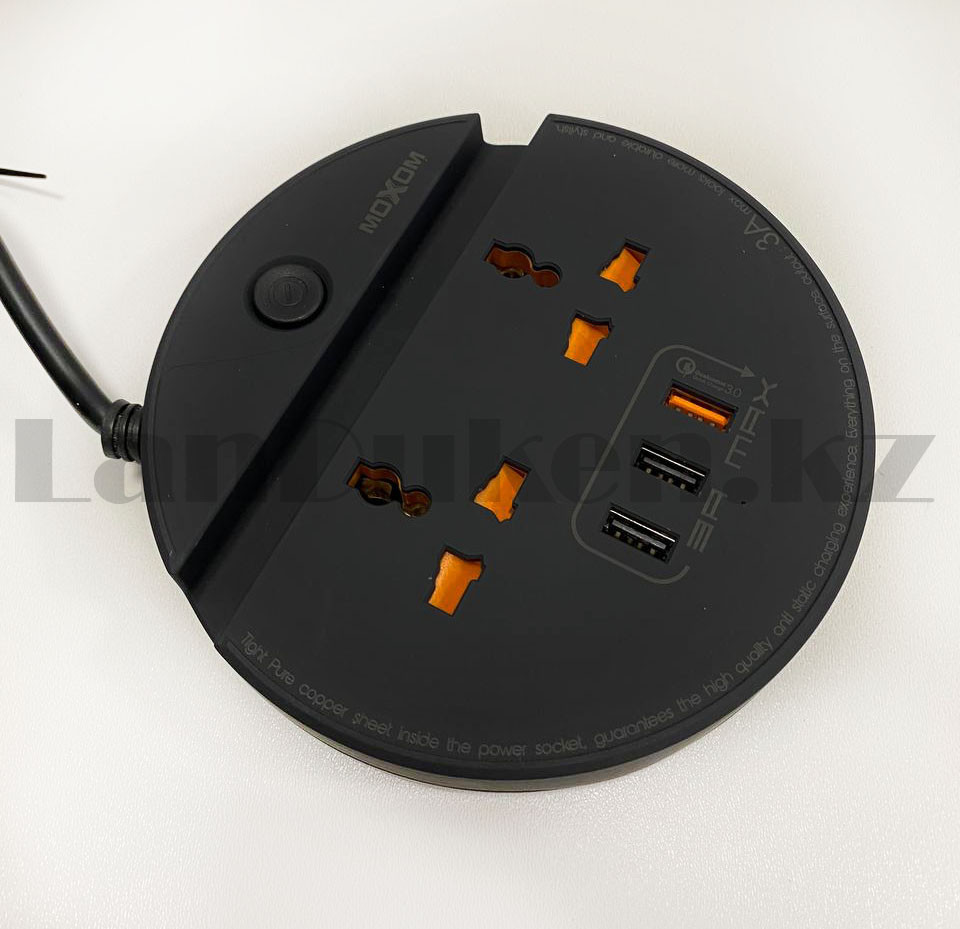 Удлинитель сетевой фильтр 2 розетки 3 USB, быстрая зарядка 3.0 с подставкой для телефона moxom MX-ST03 черный - фото 9
