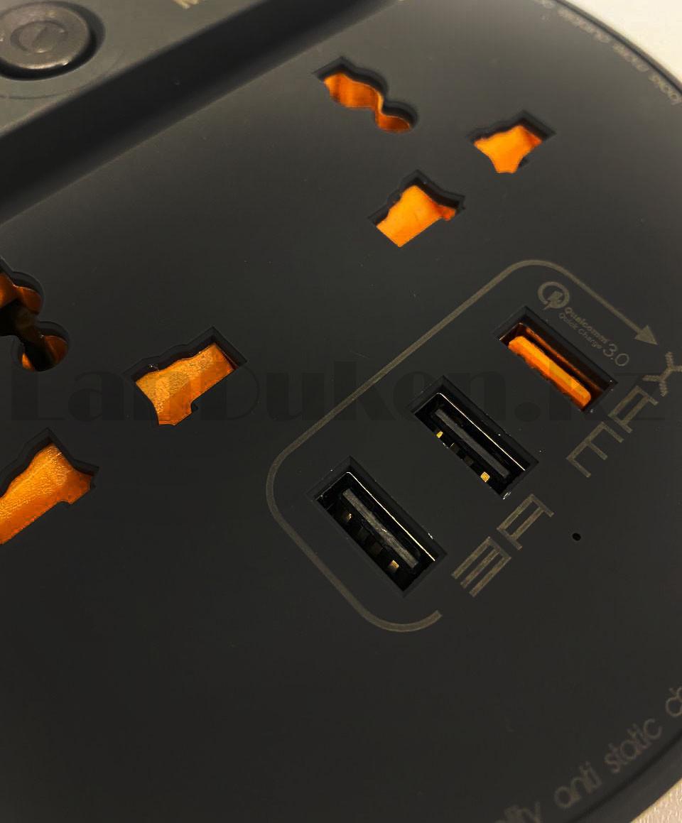 Удлинитель сетевой фильтр 2 розетки 3 USB, быстрая зарядка 3.0 с подставкой для телефона moxom MX-ST03 черный - фото 8