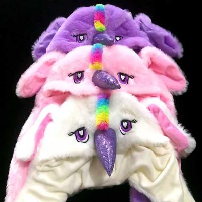 Шапка с поднимающимися ушами детская (розовая)