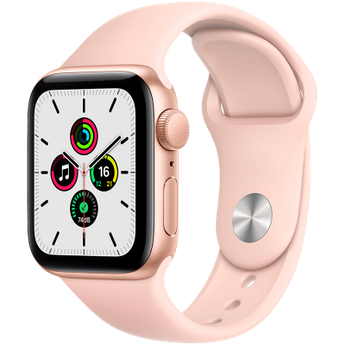Apple Watch SE GPS, 40mm Gold Aluminium Case with Pink Sand Sport Band