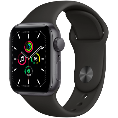 AApple Watch SE GPS, 44mm Space Gray Aluminium Case with Black Sport Band