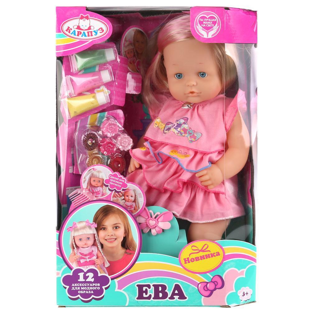 Карапуз Кукла Ева, 40 см с набором красок и аксессуаров для волос