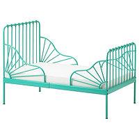 Кровать каркас раздв МИННЕН +реечн днище, бирюзовый ИКЕА, IKEA, фото 1