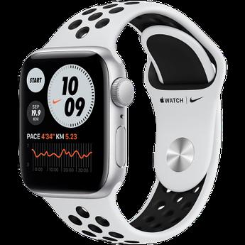 Apple Watch Nike SE GPS, 44mm Silver Aluminium Case with Pure Platinum/Black Nike Sport Band