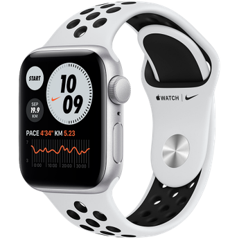 Apple Watch Nike Series 6 GPS, 40mm Silver Aluminium Case with Pure Platinum/Black Nike Sport Band