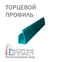 Профиль торцевой на сотовый поликарбонат П-образный - Бирюза 10мм