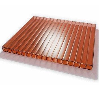 Листы сотового поликарбоната,Euro Tek 6мм-6м,(янтарный)