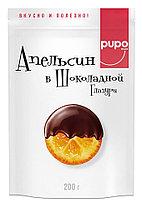 """Фрукты сушенные в шоколадной глазури PUPO """"Апельсин"""" 200гр Дой-пак (10шт - упак)"""