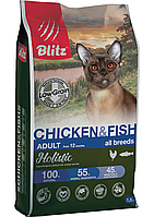 Низкозерновой сухой корм для кошек всех пород Blitz Holistic Cat Chicken&Fish курица рыба, фото 1